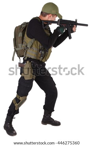 Private military contractor - mercenary with mp5 submachine gun isolated on white