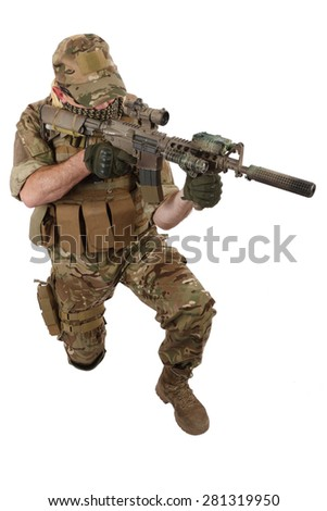 Private Military Contractor with carbine M4 isolated on white