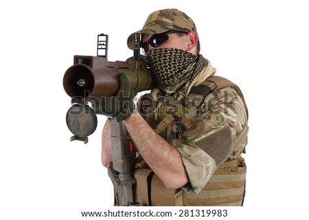 Private Military Contractor with RPG rocket launcher isolated on white