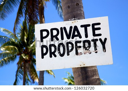 Private Property sign on a beach on Malapascua island, Philippines