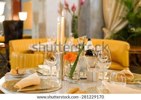 private room breakfast meeting - stock photo