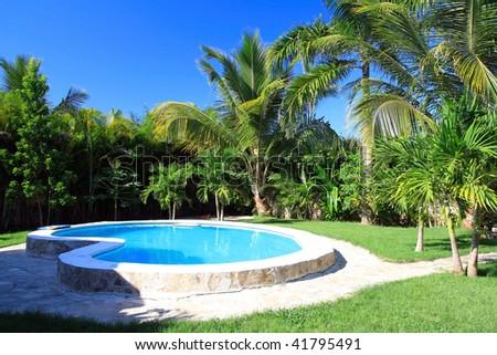 Private swimming pool - stock photo