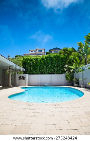private swimming pool in a house - stock photo