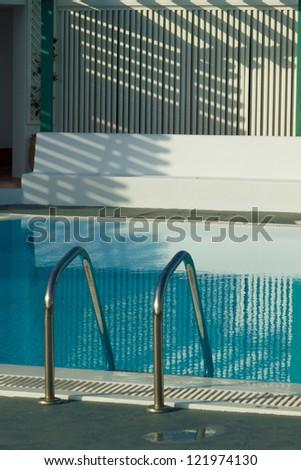 Private swimming pool in Santorini - stock photo