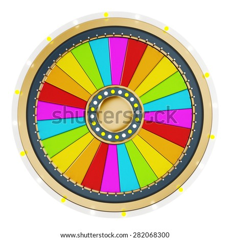 Prize wheel with empty slices on white background