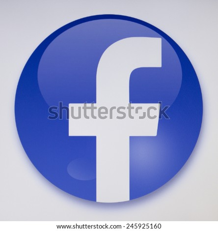Prizren, Kosovo - January 16, 2015: Social network facebook sign on pc sign - stock photo