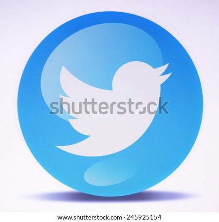 Prizren, Kosovo - January 21, 2015: Social network sign twitter on pc screen - stock photo