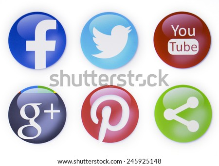 Prizren, Kosovo - January 16, 2015: Social networks signs, facebook,twitter,you tube,pinterest and others on pc screen - stock photo
