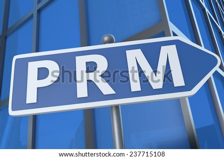 PRM - Partner Relationship Management - illustration with street sign in front of office building.