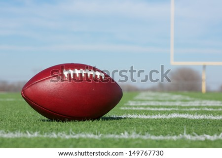 Pro American Football on the Field Close Up with the Goal Posts beyond - stock photo