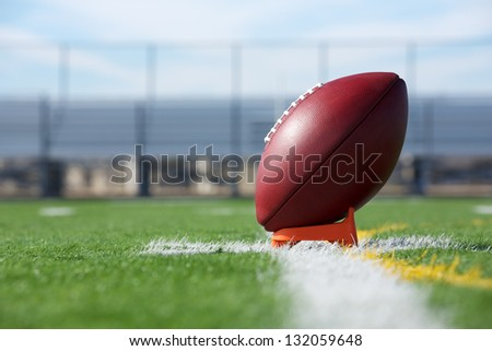 Pro American Football ready for kickoff - stock photo