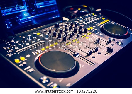 Pro DJ equipment. A little of DOF. - stock photo