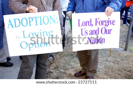 Pro-life rally signs,