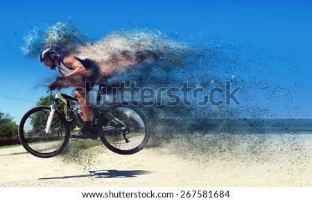 Pro moutain bike racer running so fast! - stock photo