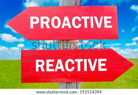 Proactive and reactive way choice showing strategy change or dilemmas - stock photo