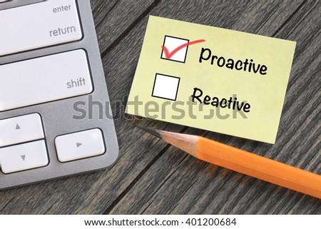 proactive versus reactive, motivation concept - stock photo