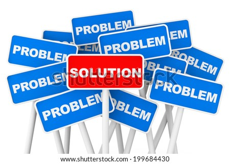 Problem and Solution banner signs on a white background - stock photo