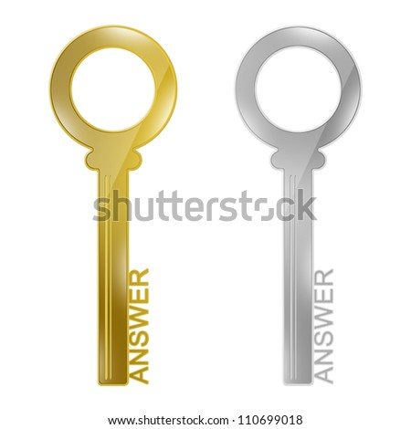 Problem and Solution Concept, Present With Golden and Silver Key With Answer Text As Key for Answer Isolated on White Background - stock photo