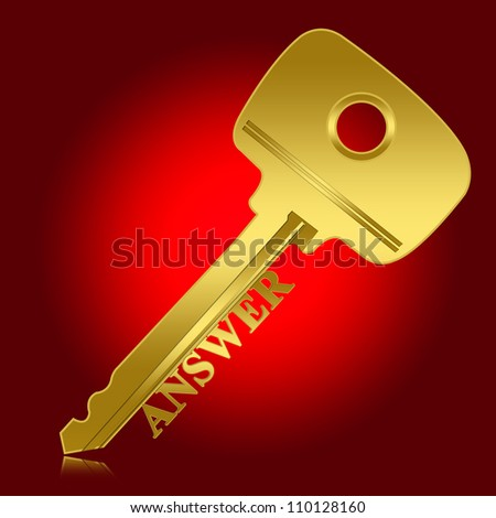 Problem and Solution Concept, Present With Golden Key With Answer Text As Key for Answer in Red Glossy Style Background - stock photo