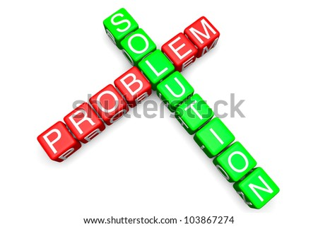 Problem and Solution concept. Sign as crossword blocks on a white background - stock photo
