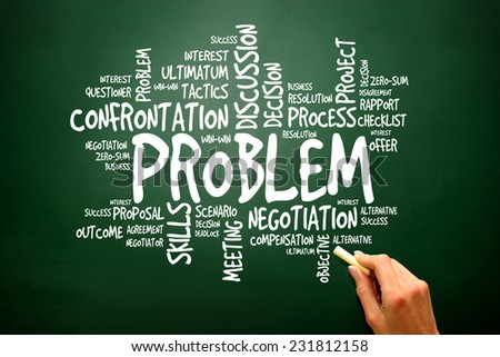 PROBLEM business concept words cloud on blackboard, presentation background - stock photo