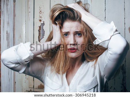 problem depressioned teenage with messed hair and sad face, real junky close up - stock photo