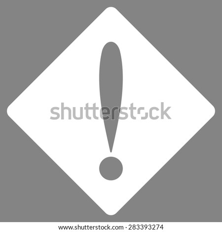 Problem icon from Basic Plain Icon Set. Style: flat symbol icon, white color, rounded angles, gray background. - stock photo