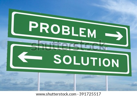 problem or solution concept on the road signs