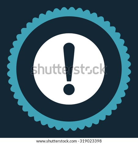 Problem round stamp icon. This flat glyph symbol is drawn with blue and white colors on a dark blue background. - stock photo