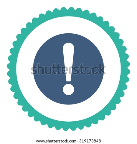 Problem round stamp icon. This flat glyph symbol is drawn with cobalt and cyan colors on a white background. - stock photo