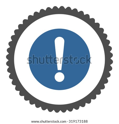 Problem round stamp icon. This flat glyph symbol is drawn with cobalt and gray colors on a white background. - stock photo
