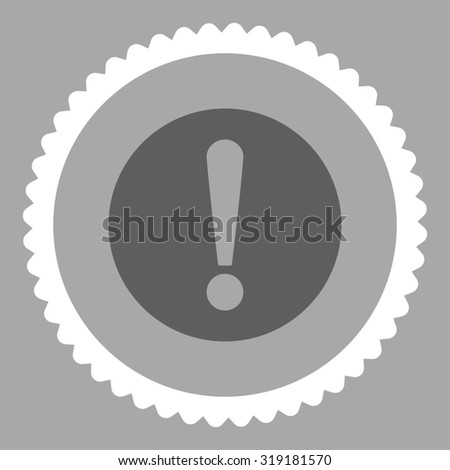 Problem round stamp icon. This flat glyph symbol is drawn with dark gray and white colors on a silver background. - stock photo