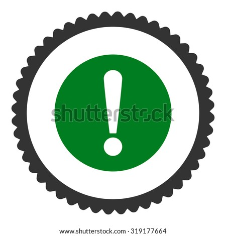 Problem round stamp icon. This flat glyph symbol is drawn with green and gray colors on a white background. - stock photo