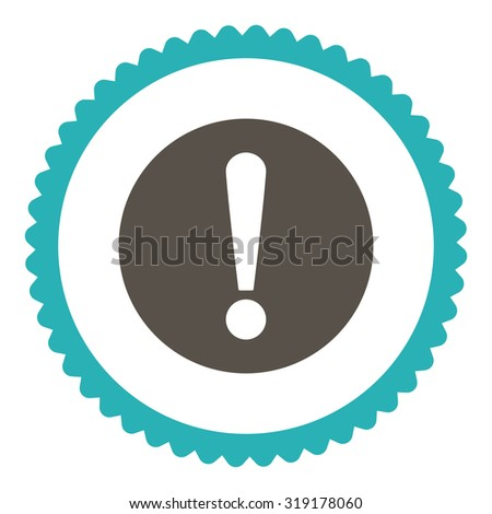 Problem round stamp icon. This flat glyph symbol is drawn with grey and cyan colors on a white background. - stock photo