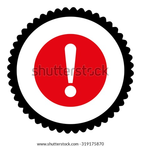 Problem round stamp icon. This flat glyph symbol is drawn with intensive red and black colors on a white background. - stock photo