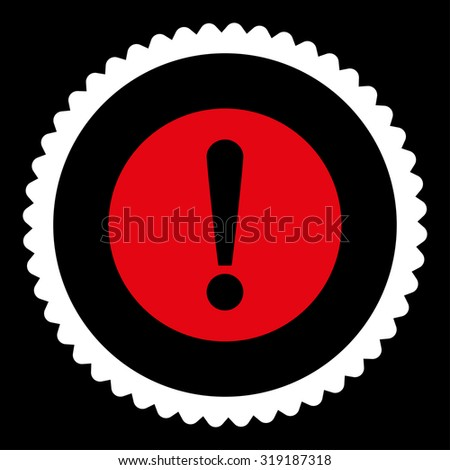 Problem round stamp icon. This flat glyph symbol is drawn with red and white colors on a black background. - stock photo