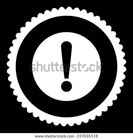 Problem round stamp icon. This flat glyph symbol is drawn with white color on a black background. - stock photo