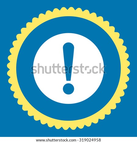 Problem round stamp icon. This flat glyph symbol is drawn with yellow and white colors on a blue background. - stock photo