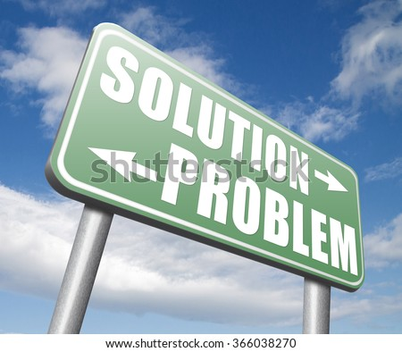 problem solution searching solutions by solving problems road sign - stock photo