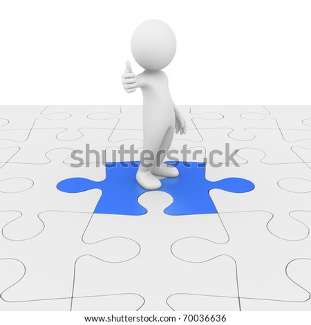 Problem solved! Puzzle complete... - stock photo