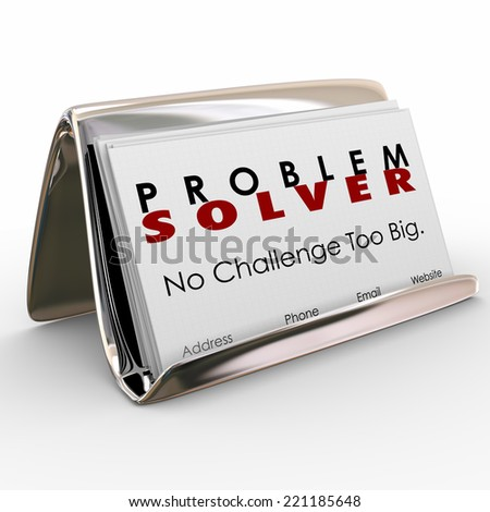 Problem Solver words on business cards to spread the word on your consultant job or career - stock photo