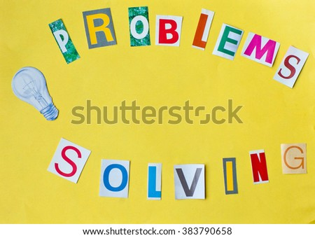 Problem solving and light bulb - collage of letters