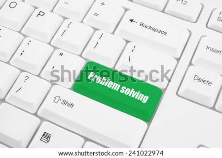 Problem solving button on computer keyboard  - stock photo