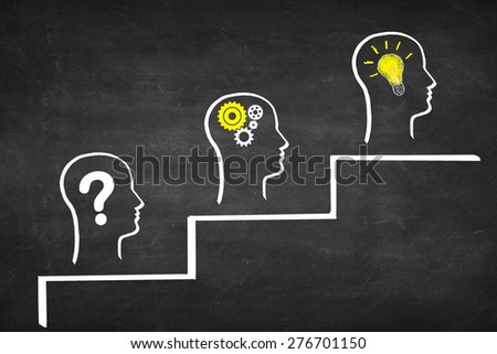 Problem solving career success concept. Asking question, thinking, finding solution - stock photo