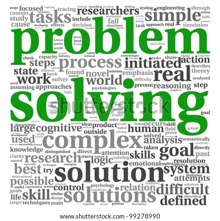 Problem solving concept in word tag cloud on white background - stock photo