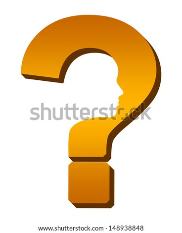 Problem Solving Concept - Orange Question Mark With Face  - stock photo
