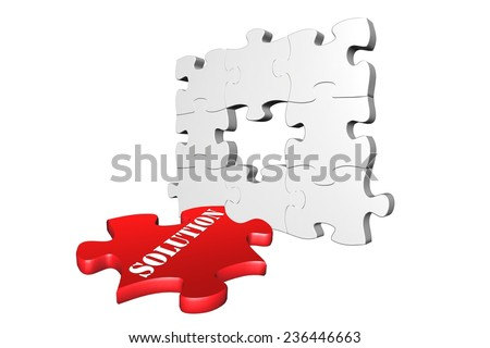 Problem solving solution concept in 3D jigsaw puzzle