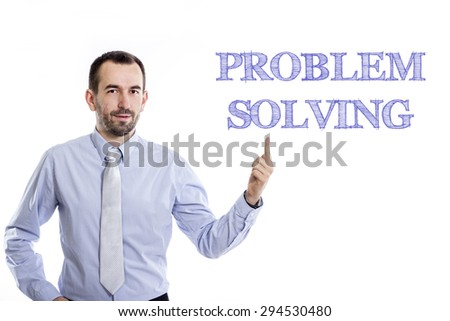 Problem solving  Young businessman with small beard pointing up in blue shirt