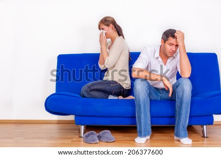 problems at home discussing pair - stock photo