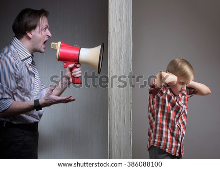 Problems between father and son - stock photo